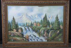 OIL ON CANVAS OF BEAUTIFUL NATURE SCENE, UNSIGNED. MEASURES 43 IN. W X 31 IN. H.