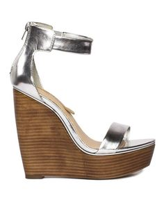Silver metallic olivia \\ honey wood wedge \\ SHOE SEPARATES