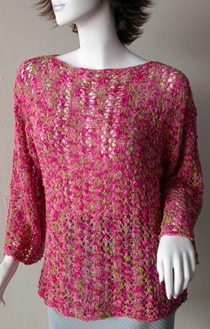 Waikiki Lace Bell Sleeve Pullover - free pullover pattern - Crystal Palace Yarns