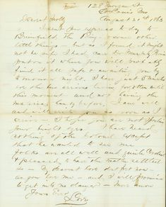 "August 21, 1863: James wrote his second letter of the day to Molly before leaving St. Louis to rejoin his regiment. He wrote, ""Folks are...pleased to have the matter settled so. My dearest love dont fret now — as you love me — and I will promise to get into no danger."" http://historyhappenshere.org/archives/7418"