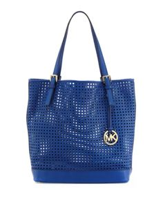 7cb872dc4c92 NWT Michael Kors Bridget Sapphire Leather Perforated Tote Purse Handbag
