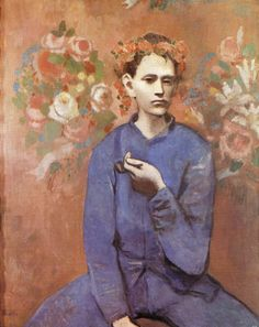 Boy with a Pipe, 1905 by Pablo Picasso  This painting was painted in 1905 when Picasso was 24 years old, during his Rose Period, soon after he settled in the Montmartre section of Paris, France. The oil on canvas painting depicts a Parisian boy holding a pipe in his left hand and wearing a garland or wreath of flowers.