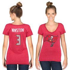 Jameis Winston Tampa Bay Buccaneers Women s Red Tri-Blend Name   Number T- Shirt 0ab59c081