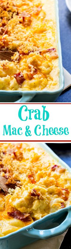 Super creamy and rich Crab Mac and Cheese makes a delicious holiday side.