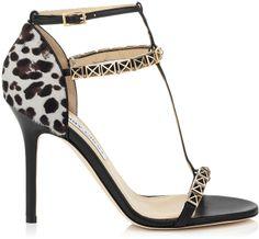 Jimmy Choo Flint Black Nappa Leather and Leopard Print Pony Sandals