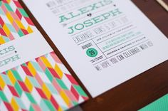 Colorful Arrows + Hearts Wedding Invitations by Renee Nicole Design via Oh So Beautiful Paper (5)