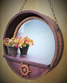 """Captain's nautical porthole mirror with rope in 1/4 French wine barrel in Mahogany Finish with red wine infused staves SH109MH. Handsome 26"""" mirror 1/4 wine barrel with Hardwood Shelf. Matches our mahogany vanities and console tables."""