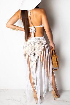 acelyn Women's Sexy Bathing Suit Handmade Crochet Tassel Bikini Cover Up Swimsuit Summer Beach Dress Backless Maxi Dresses, Beach Skirt, Swim Dress, Mesh Dress, Skirt Set, Cover, Fashion Dresses, Tassel, Summer Beach