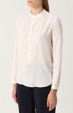 Женская темно-синяя прямая шелковая блуза с воротником-стойкой Stella McCartney, арт. 358313/SY206 купить в ЦУМ | Фото №3