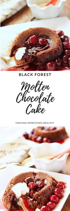Black Forest Molten Chocolate Cake|Craving Something Healthy #chocolatedessert #blackforestcake #valentinesday