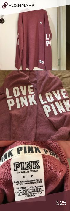 Victoria's Secret pink begonia crew LN campus Sm Perfect condition. Only trading for ISO price firm PINK Victoria's Secret Tops Sweatshirts & Hoodies