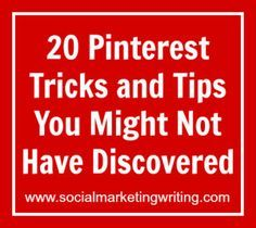 20 Tricks and Tips You Might Not Have Discovered. Including where to find the most popular pins. Marketing Online, Marketing Digital, Business Marketing, Business Tips, Social Media Marketing, Marketing Strategies, Tips And Tricks, Telefon Hacks, Pinterest Tutorial
