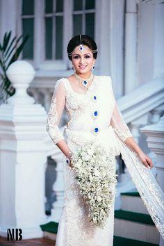 Dressed by Dhananjaya Bandara White Saree Wedding, White Bridal, Indian Bride Dresses, Bridal Dresses, Wedding Attire, Wedding Bride, Sri Lankan Wedding Saree, Brides Maid Gown, Saree Dress
