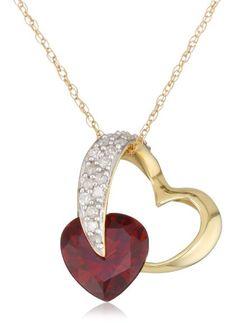 "Amazon.com: 10k Yellow Gold Diamond and Garnet Heart-Shaped Pendant, 18"": Jewelry"