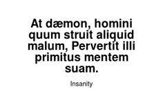 Read more Insanity quotes at wiktrest.com. At dæmon, homini quum struit aliquid malum, Pervertit illi primitus mentem suam. Damaged Quotes, Insanity Quotes, Read More, Math Equations, Reading, Reading Books