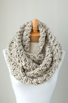 Soft chunky crochet infinity scarf in Oatmeal Brown, crocheted chunky eternity scarf, circle scarf, crochet scarf warm and cozy neutral on Etsy, $60.00