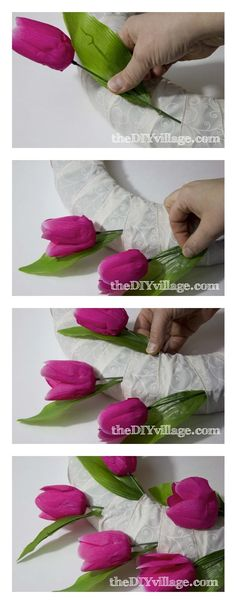 2-Tulip Door Wreath Tutorial -Take a neutral ribbon and wrap your wreath form. You will want your ribbon to over lap so that you can slide the tulips in between the ribbon and the form.