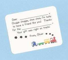 Choo Choo Train Fill in the Blanks Thank You Notes - Primary Train Cars - Great for Boys and Girls by CardsByKooper on Etsy