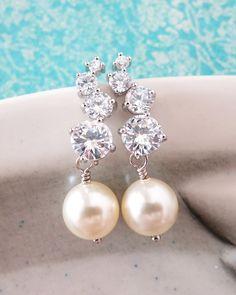 Silver Bubble Earrings with Pearls, Cubic zirconia, Swarovski pearl, simple everyday, bridal shower gifts, bridesmaids, brides, wedding jewelry, www.glitzandlove.com