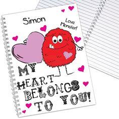 Personalised Monster Heart Notebook  from Personalised Gifts Shop - ONLY £6.95