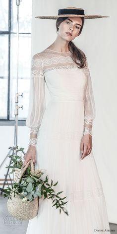 divine atelier 2018 bridal long sleeves illusion jewel straight across neckline light embellishment romantic bohemian soft a line wedding dress sweep train (2) mv -- Divine Atelier 2018 Wedding Dresses