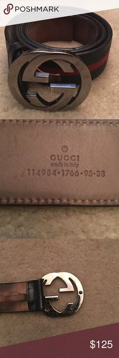 dd407ffe561 Gucci belt (AUTHENTIC) Men Interlocking G Buckle Gucci belt. The outside of  the