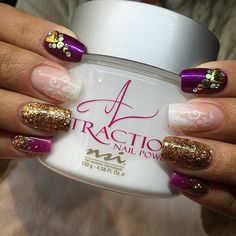 Amazingly Stunning Purple and Gold Acrylic Nails!
