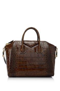 Givenchy Medium Antigona Bag in Brown Calf Skin Leather