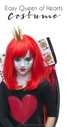 Cheap and Easy Queen of Hearts Costume with plain black dress, duct tape, face paint and wig for kids or adults Queen Of Hearts Makeup, Queen Of Hearts Costume, Twin Halloween, Halloween Ideas, Halloween 2016, Halloween Projects, Halloween Party, Diy Projects, Zombie Makeup Easy