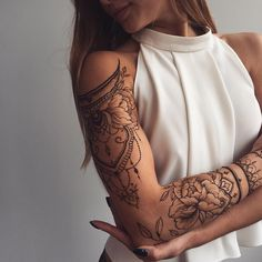 "5,651 Likes, 89 Comments - Veronica Krasovska (@veronicalilu) on Instagram: ""Floral #henna sleeve ✨ Shoulder piece inspired by @tata.tsvetkova, forearm peony - my one and only…"""