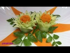 "This video tutorial ""Cucumber & Carrot Rose Flower Crafting Design"" is one of the best way to cut and serve cucumber and carrot with cool techniques, skills . Salad Decoration Ideas, Vegetable Decoration, Veggie Art, Fruit And Vegetable Carving, Radish Flowers, Amazing Food Art, Appetizers For Kids, Food Carving, Edible Creations"