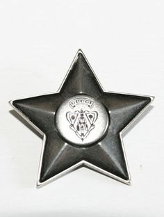 New Gucci Runway Sterling Silver Knight Crest Logo Star Pin! Our price, $245.00!!!