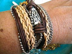 """Boho Natural Leather Wrap Bracelet with Silver Accents... Magnetic Clasp ...""""FREE SHIPPING"""" by LeatherDiva, $41.00"""