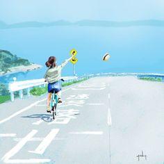 Foto Pose, Cute Wallpaper Backgrounds, Anime Scenery, Cute Illustration, Anime Art Girl, Aesthetic Art, Landscape Art, Japanese Art, Cartoon Art