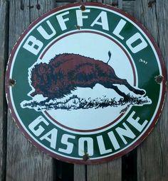 """Buffalo Gasoline Vintage Porcelain Sign (Old Antique Gas  Oil Advertising Enamel 12"""" Round Gas Station Sign)"""