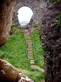 Steps down to Dunluce Castle located less than five miles from Giant's Causeway.  Dunluce is probably one of the most dramatically located Northern Irish castles built on a basalt headland dropping straight into the ocean.  Photo: pinlovely/com/stepsdunluce