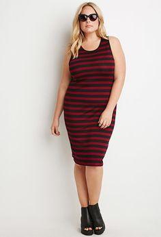 Plus Size Striped Midi Dress