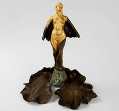 Bronze Figure atop a Marble Base and Tray by Delagrange A two toned gilt-bronze and brown patinated figure atop a marble base and tray by Léon-Noël Delagrange. Modern Sculpture, Bronze Sculpture, Wood Sculpture, Name Art, Sculptures For Sale, Arts And Crafts Movement, French Art, Art Decor