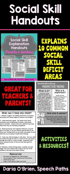 Handouts for parents & teachers explaining Social Skill deficits by area.  Activities & resources included! Free sample on my blog!