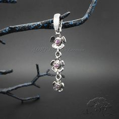 14K White Gold with Pink Sapphire Pendant Three Flowers by AoryNL
