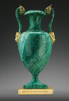 An Imperial Presentation gilt-bronze mounted malachite vase, Imperial Lapidary Workshops, Peterhof or Ekaterinburg, 1846 | lot | Sotheby's