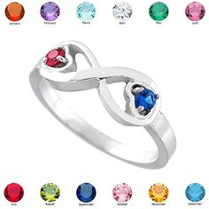 Fine White Gold Mix-and-Match Dual Heart CZ Personalized Birthstone Infinity Ring >>> Additional details at the pin image, click it : Jewelry Ring Statement Mother Day Gifts, Gifts For Mom, Jewelry Rings, Fine Jewelry, Promise Rings For Her, Statement Rings, Birthstones, White Gold, Sterling Silver