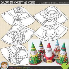 Christmas Craft: Colour In Christmas Cones Christmas Craft: Colour In Christmas Cones Easy Christmas Cone craft for kids! Just print, cut out and colour in! Christmas Cones printables from Kate Hadfield Designs Jon Haber - Preschool Christmas, Noel Christmas, Christmas Crafts For Kids, Christmas Activities, Christmas Printables, Christmas Colors, Christmas Projects, Winter Christmas, Holiday Crafts