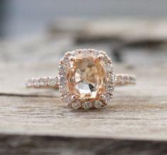 2.75 Ct. Rare Peach Champagne Sapphire Diamond Halo by Studio1040, $3980.00