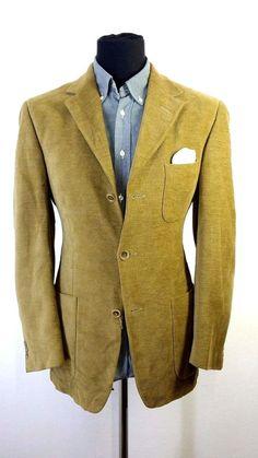 Mens Ermenegildo Zegna Blazer size 38R Wool Cotton Corduroy Caramel Casual Patch #ErmenegildoZegna #ThreeButton