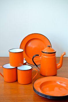 Vintage Set of Japanese Orange Enamelware Plates, mugs, and coffee/ tea pot