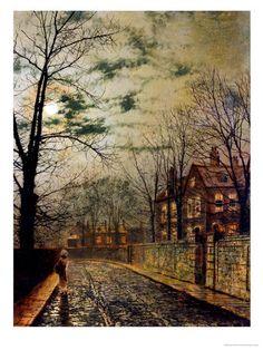 'A Moonlit Road' by John Atkinson Grimshaw