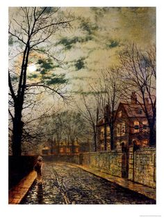 A Moonlit Road by John Atkinson Grimshaw
