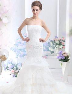 ❀ Beautiful Mermaid Strapless Organza Wedding Dresses | Riccol ❤