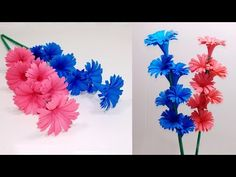 How to Make Beautiful Paper Stick Flower DIY Hand Craft Ideas for Room . Diy And Crafts Sewing, Easy Paper Crafts, Diy Arts And Crafts, Diy Paper, Handmade Crafts, Diy Crafts, How To Make Paper Flowers, Paper Flowers Craft, Flower Crafts